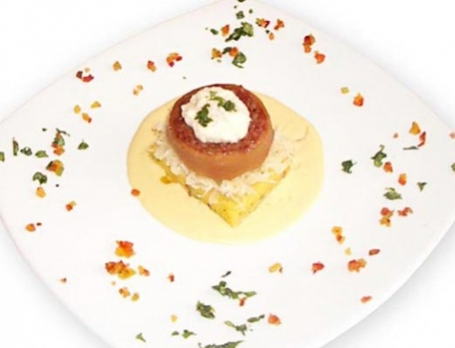 Candied Polenta Timbale With Knuckle And Sauerkrauts